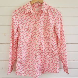 Gap the fitted boyfriend neon pink cat print shirt